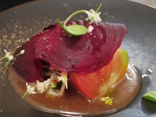 Abri-Beet-with-tomato-and-crabmeat-in-miso-dressing