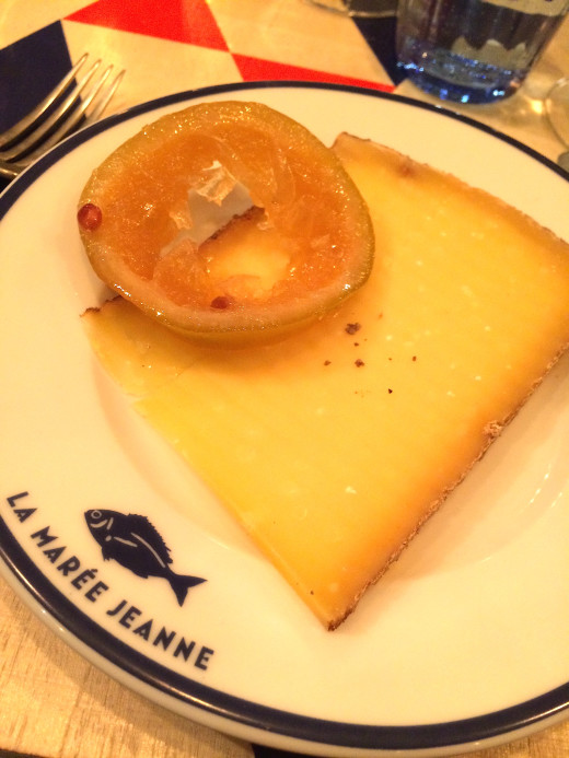 Aged compte cheese at La Maree Jeanne in Paris
