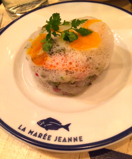 Sea bass and oyster tartare at La Maree Jeanne, Paris