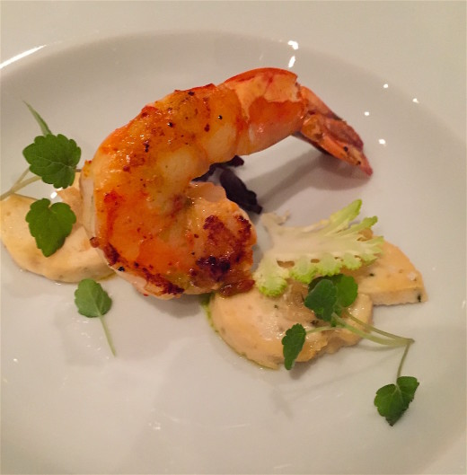 Bistro Paradis Roasted prawn before soup arrives