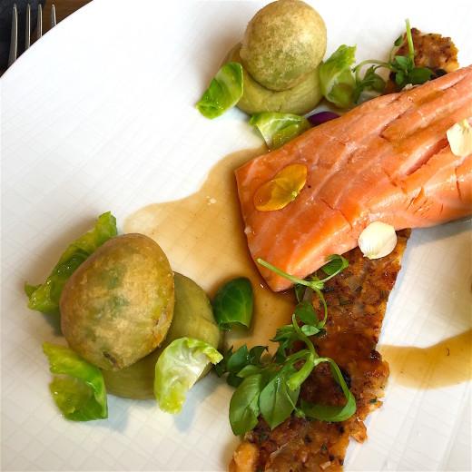 Domaine de Fontenille Olive oil poached salmon