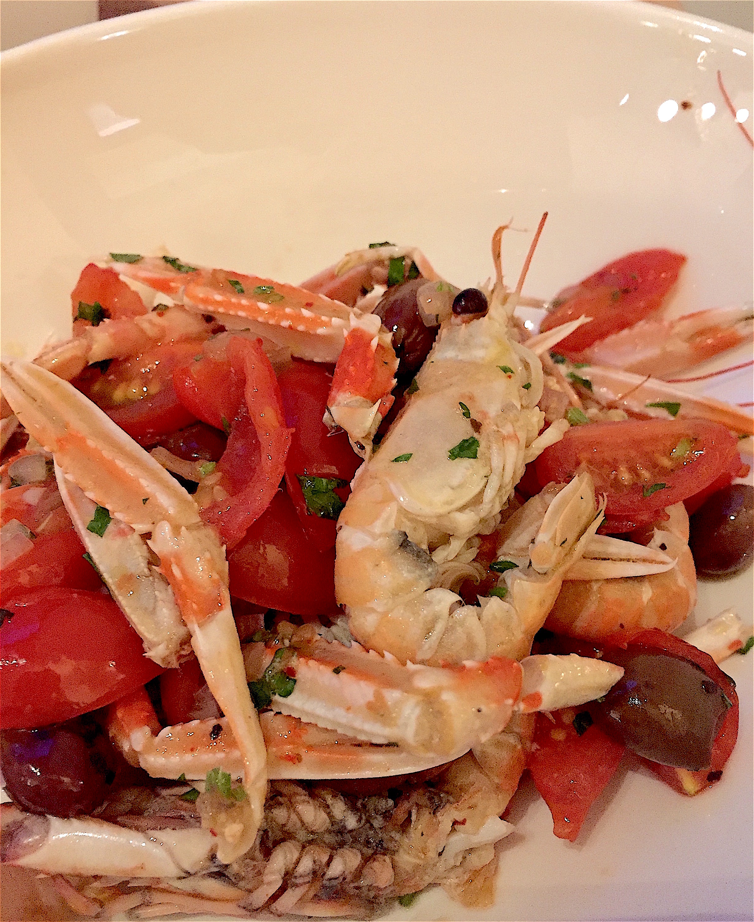 Restaurant Passerini - langoustines with tomatoes and black olives
