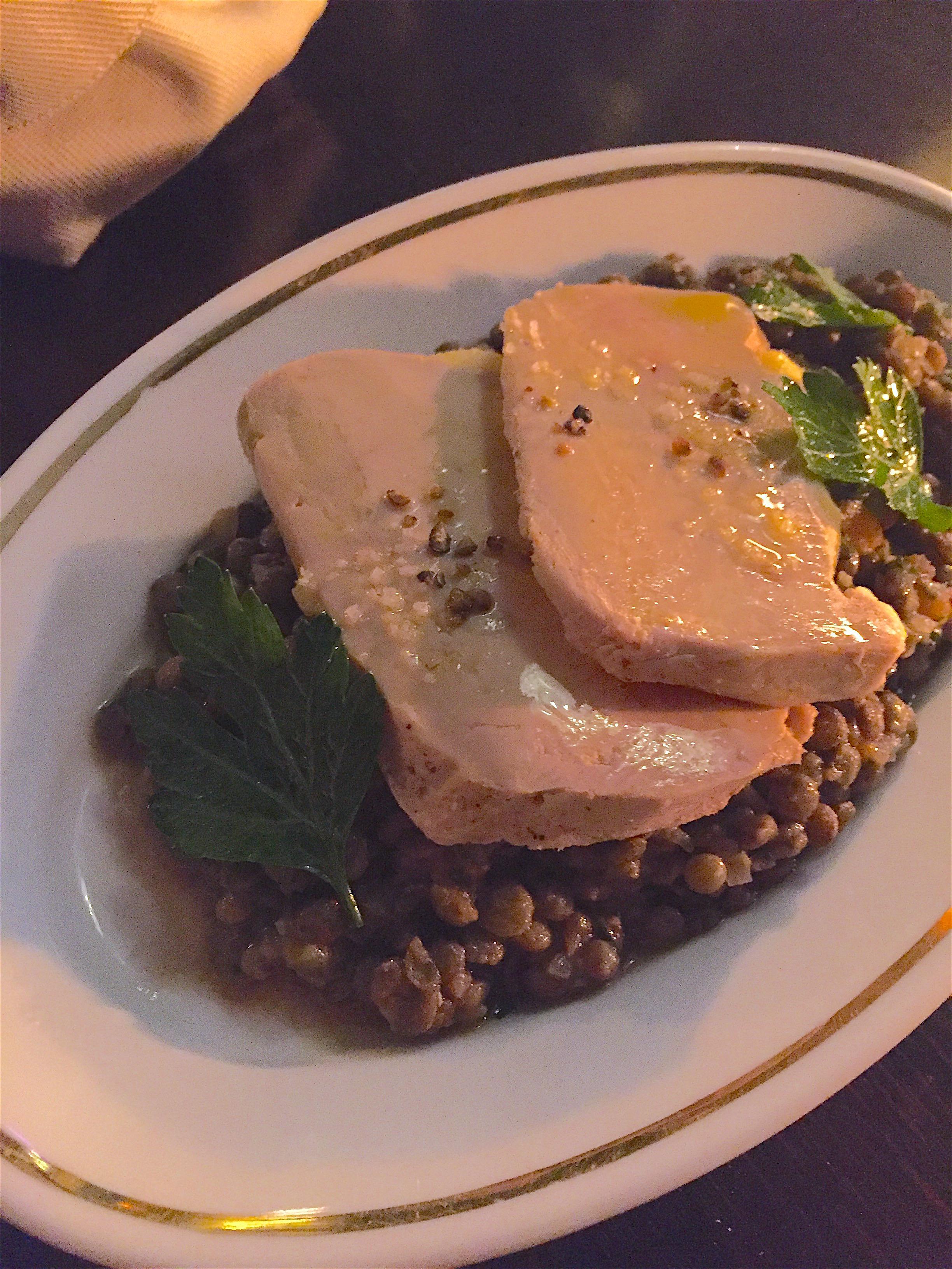 Chez la Vieille - lentils and foie gras @ Alexander Lobrano