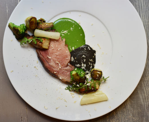 Pork, watercress puree, black olive sauce, pear, celery rave @Gerladine Martens