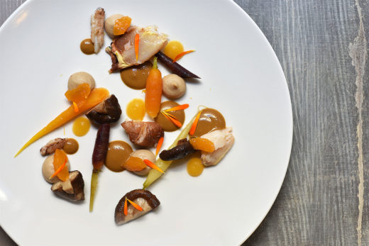 Crab, bisque, mushrooms, clementines at Restaurant Jean @Geraldine Martens
