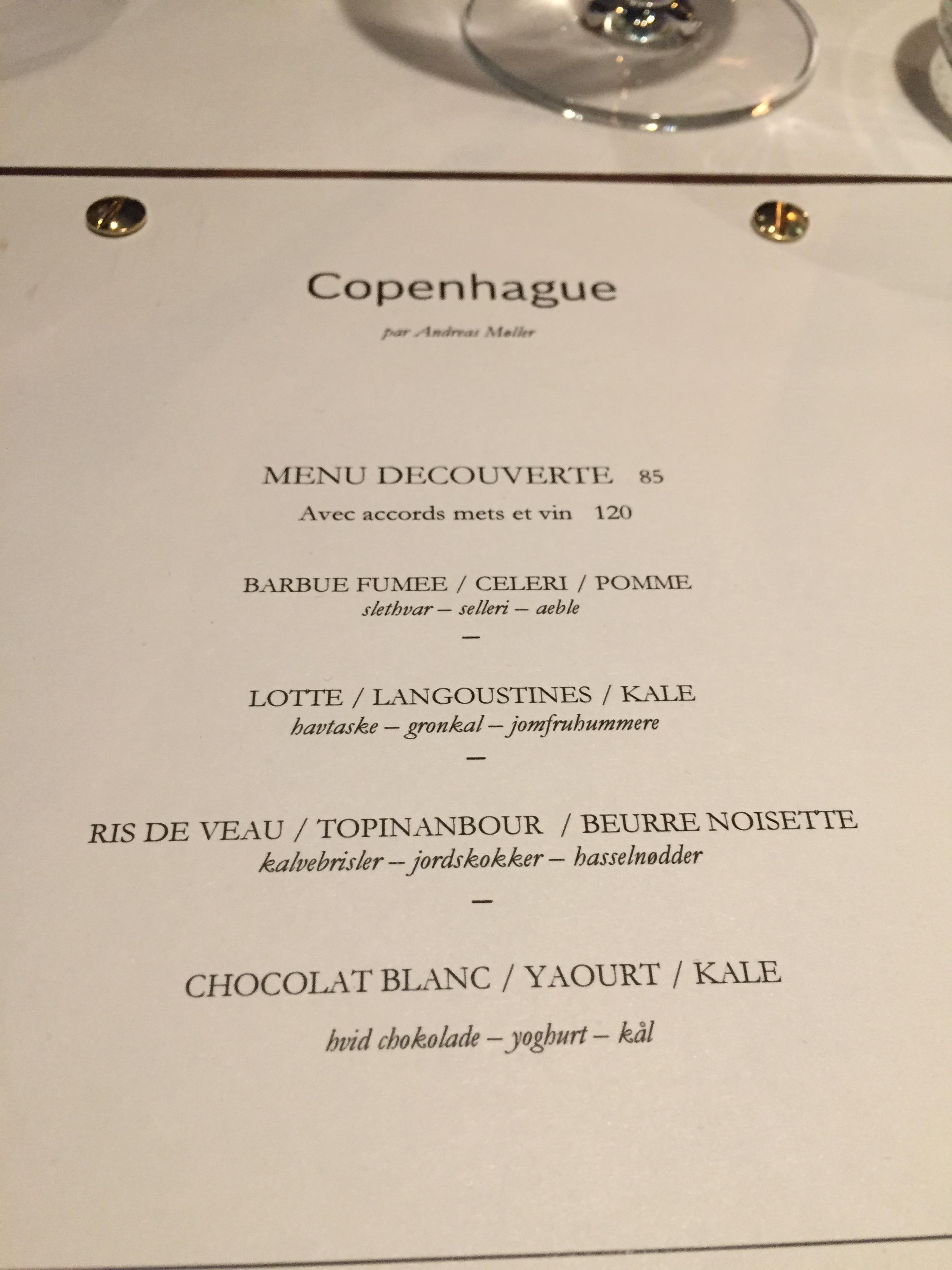 Copenhague - menu @ Alexander Lobrano