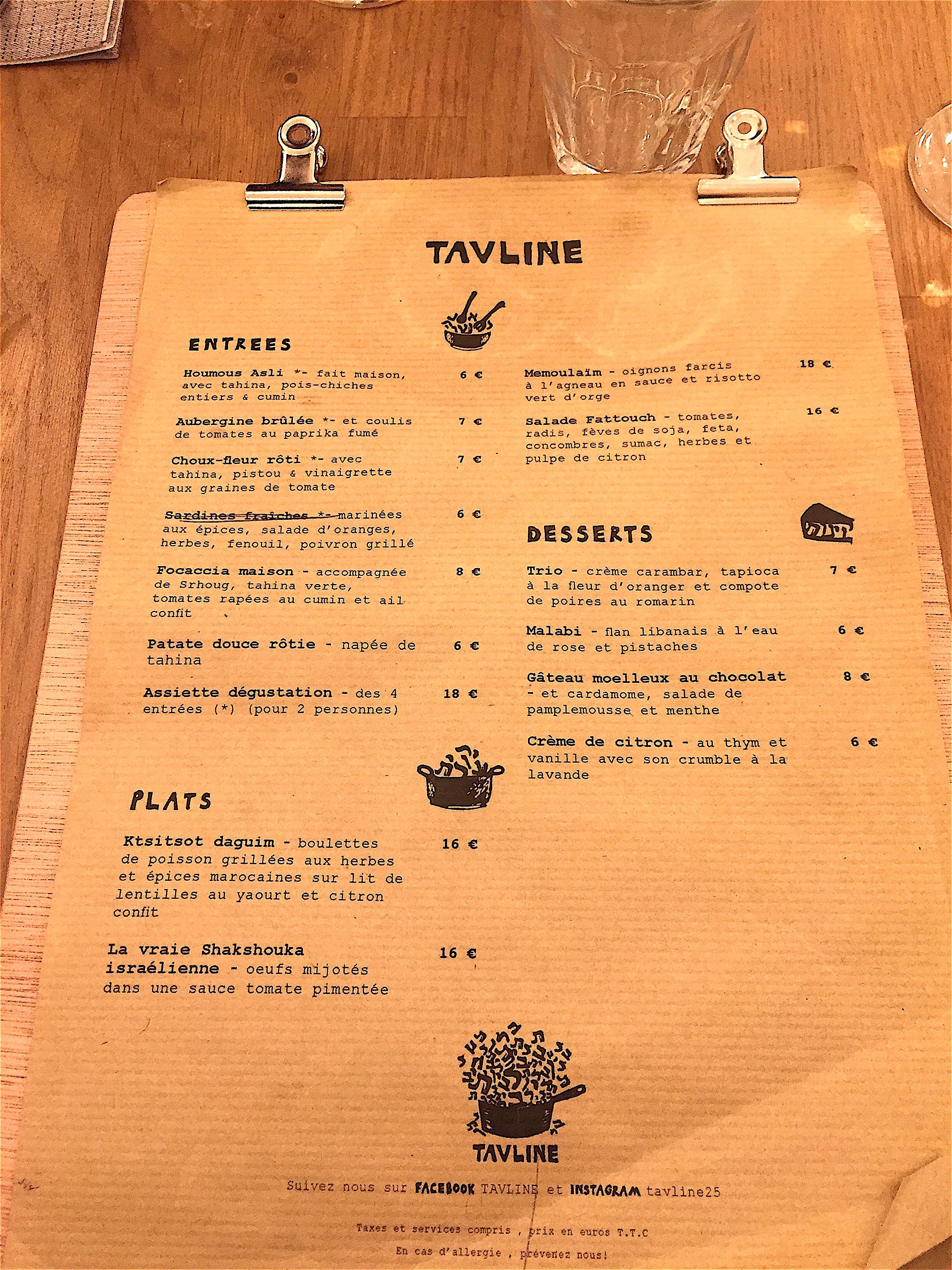 Tavline - menu @Alexander Lobrano