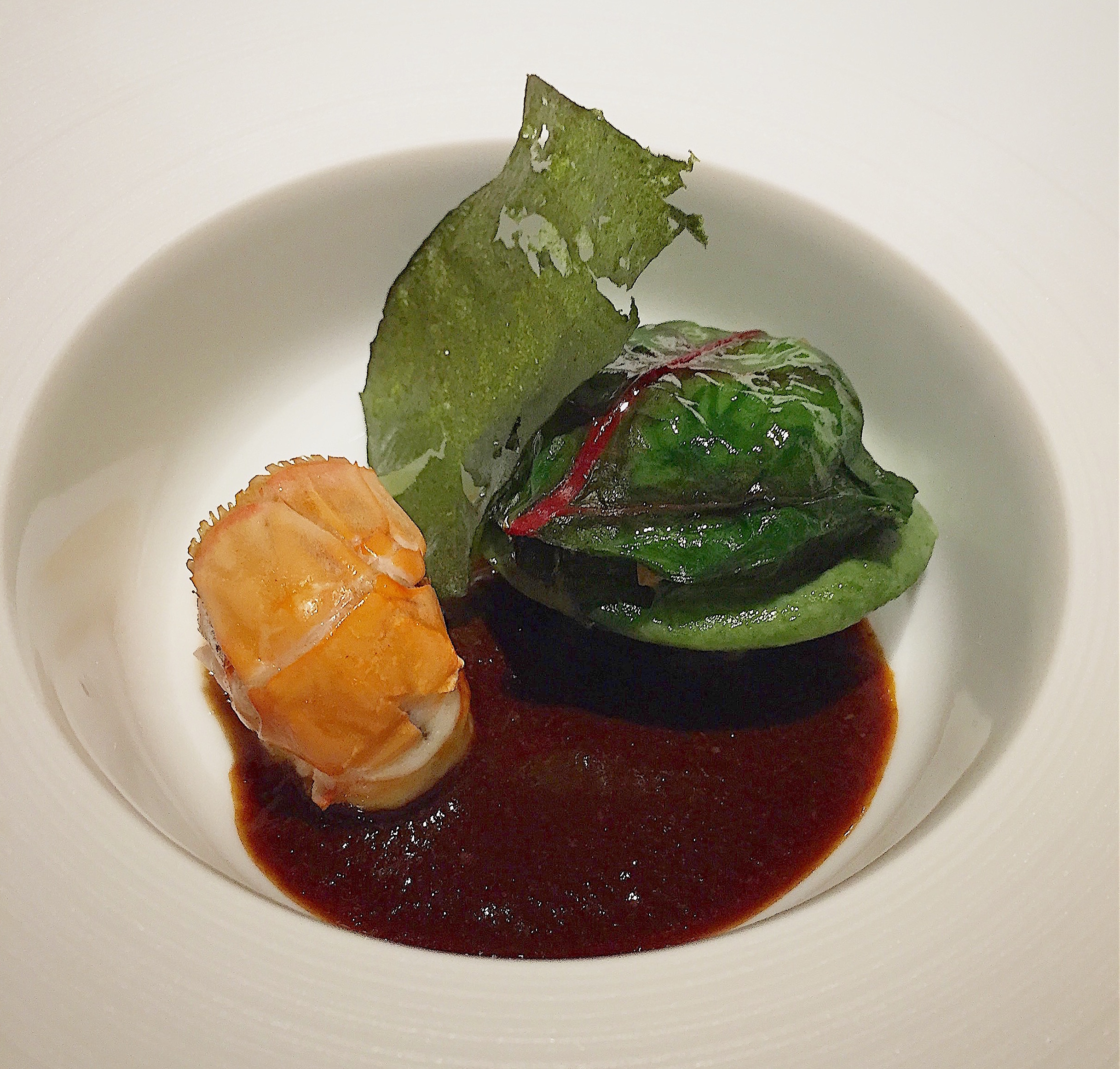 Restaurant Alain Geaam - Langoustine, langoustine ravioli, langoustine sauce @Alexander Lobrano