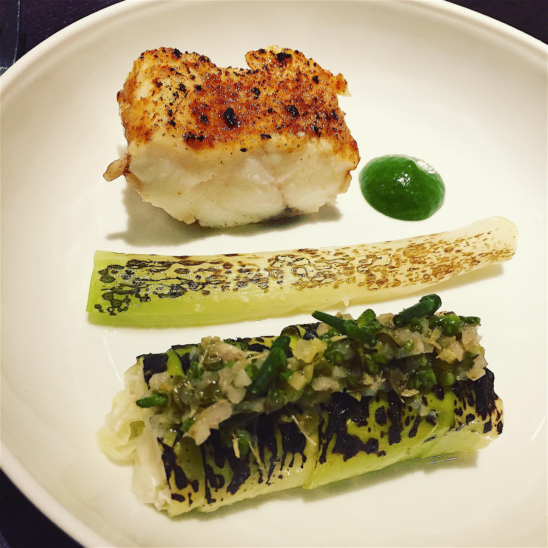 Restaurant Alan Geeam - Monkfish with leeks @Alexander Lobrano