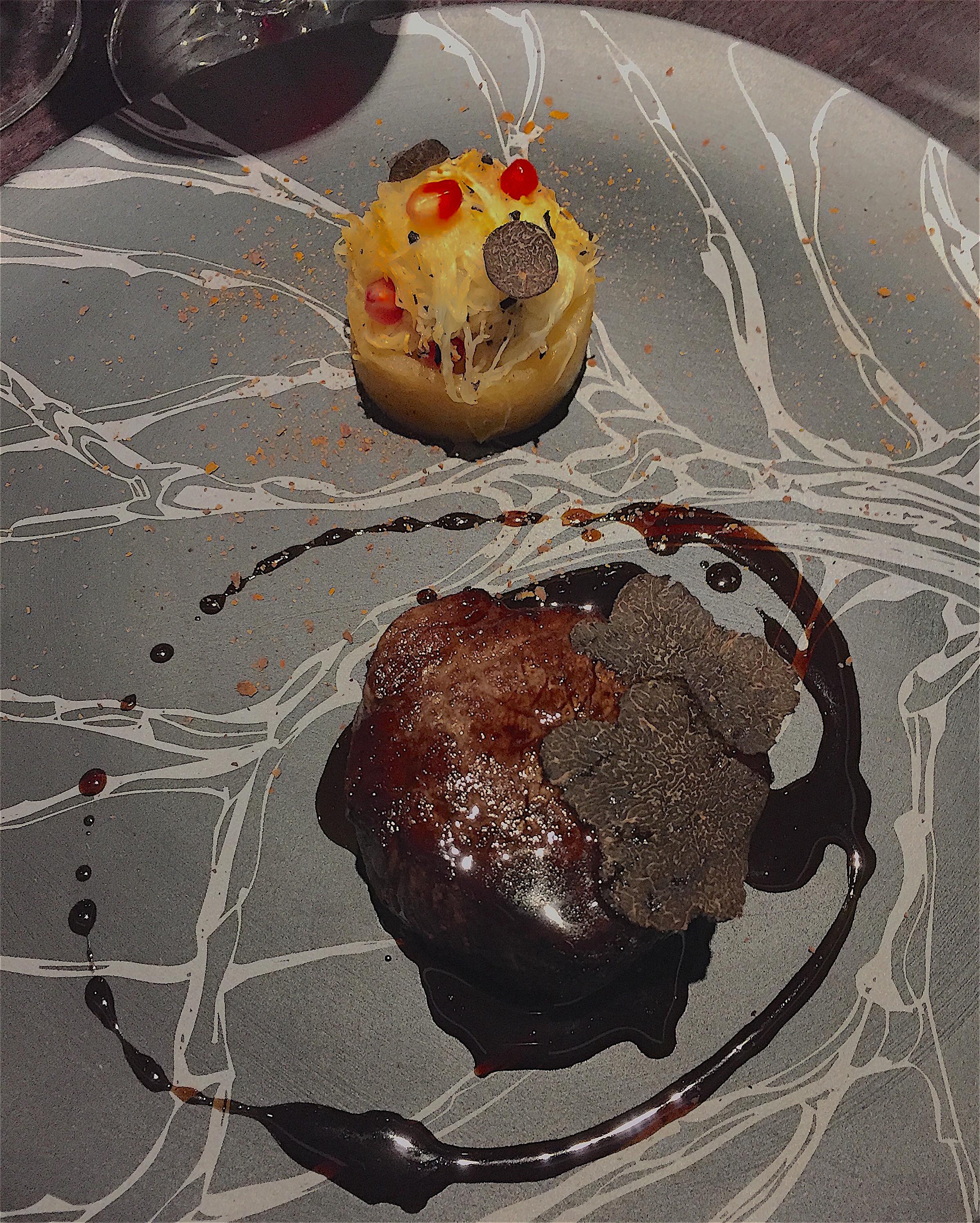 Restaurant Alain Geaam - beef filet, black truffles, pomegranate seeds @ Alexander Lobrano