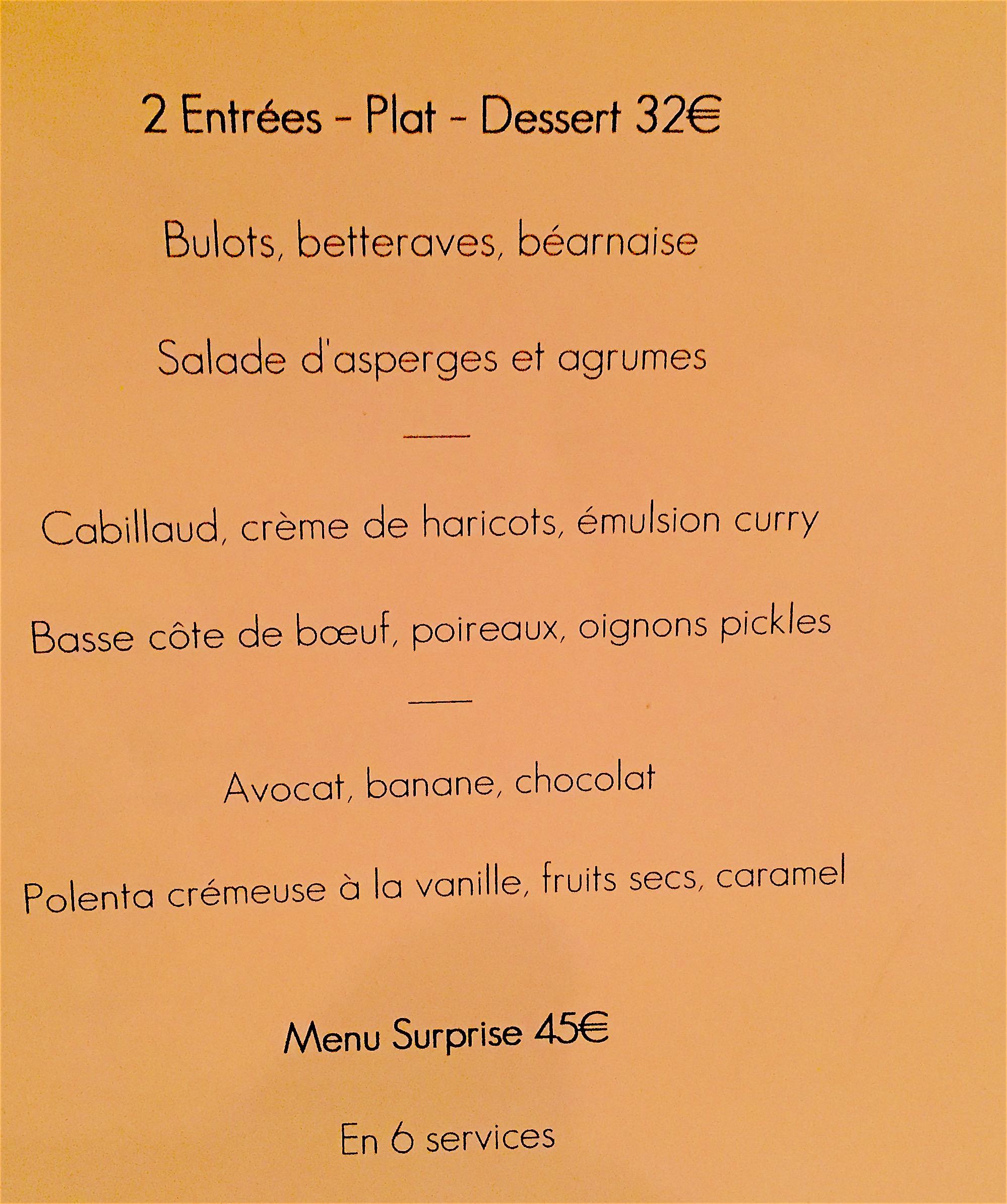Detour - menu @Alexander Lobrano
