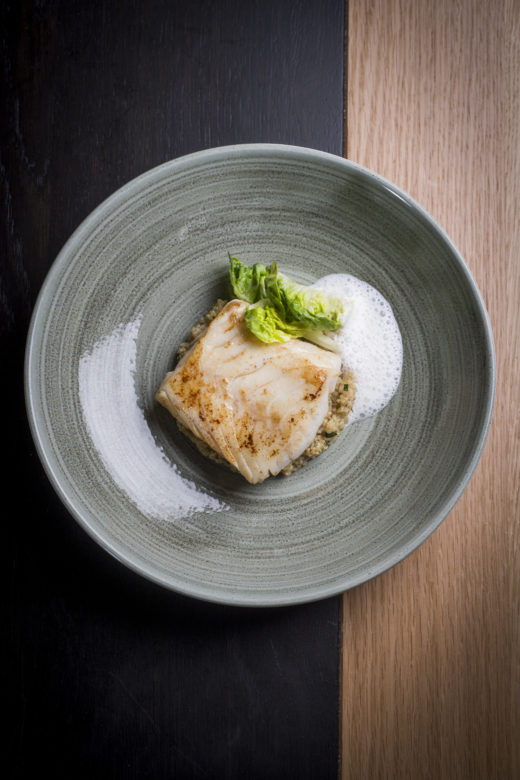 Arnaud Nicolas - Cod with quinoa and wild arugula jus @Anne-Emmanuelle Thion