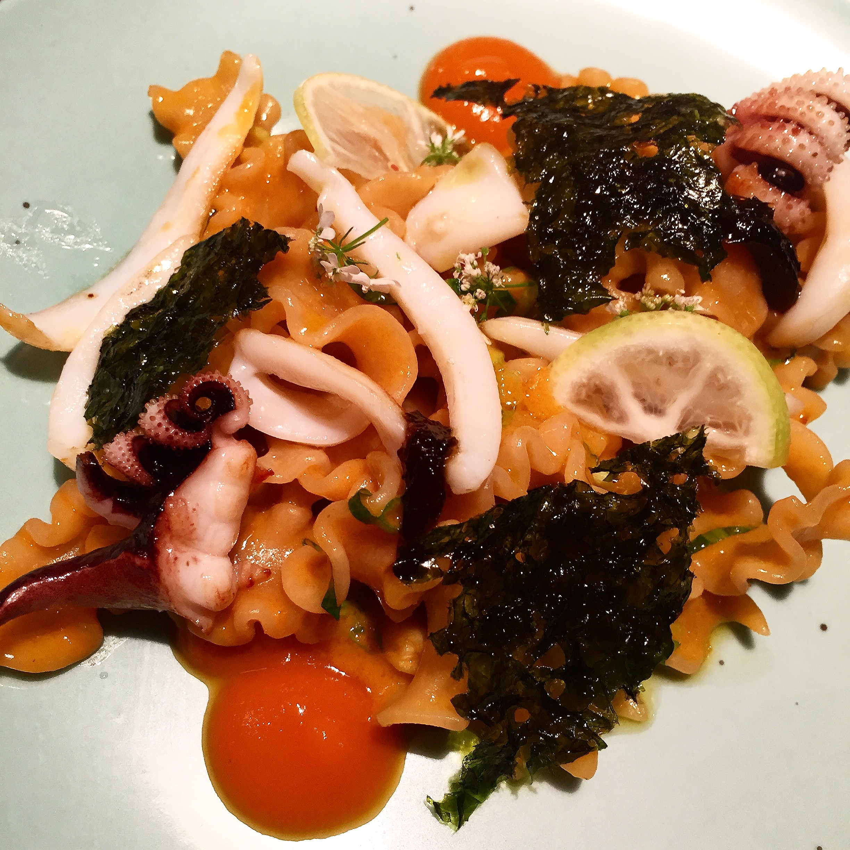 Kitchen Ter(re) - Dentelle du Cucugnan pasta with cuttlefish @Alexander Lobrano
